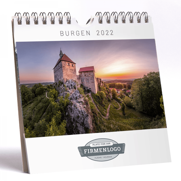 Werbe-Kalender Burgen 2022, 148 x 148 mm