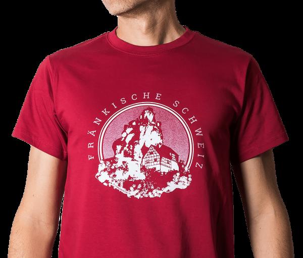 T-Shirt Fränkische Schweiz in Bordeaux-Rot